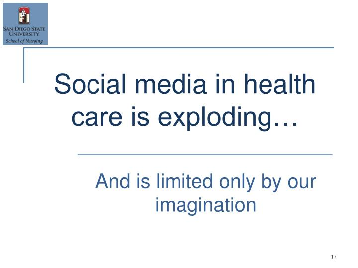 Social media in health care is exploding…