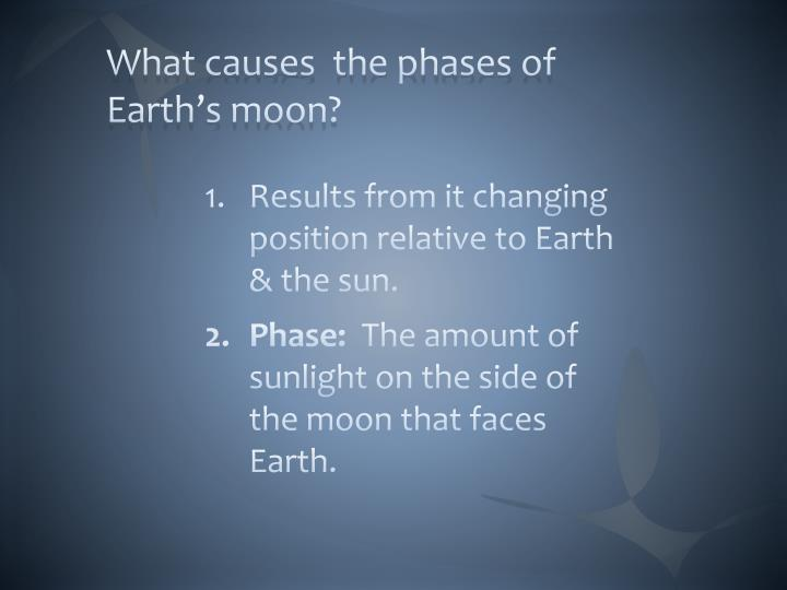 What causes  the phases of Earth's moon?