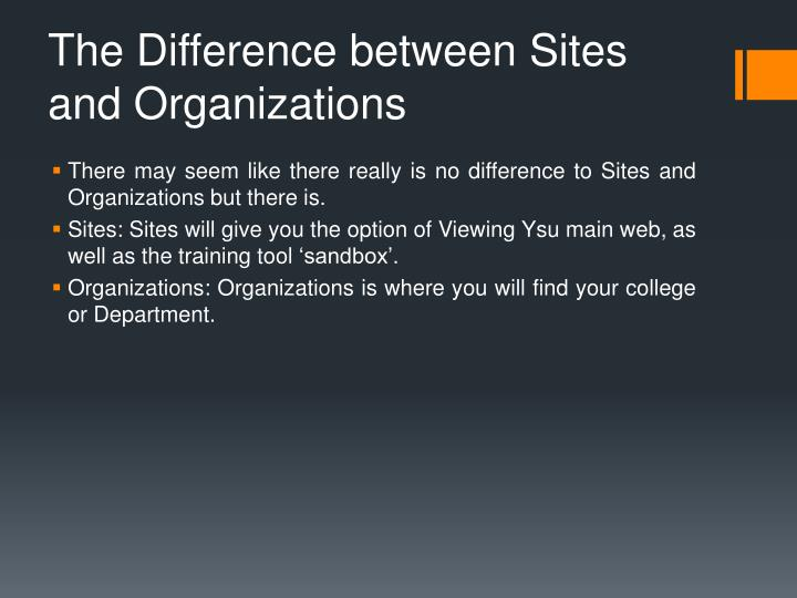 The Difference between Sites and Organizations