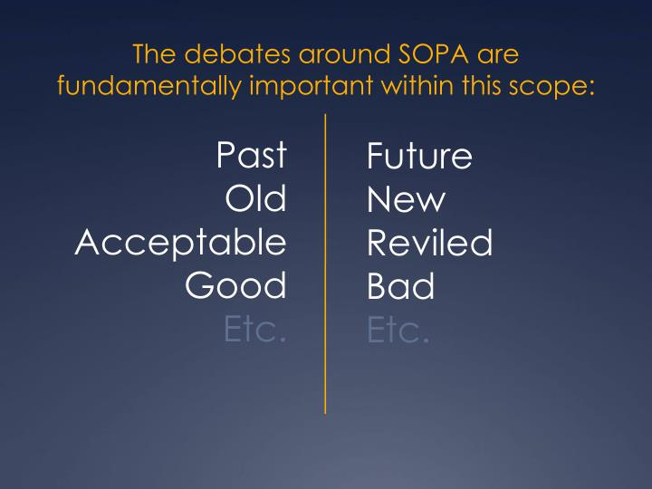 The debates around SOPA are fundamentally important within this scope: