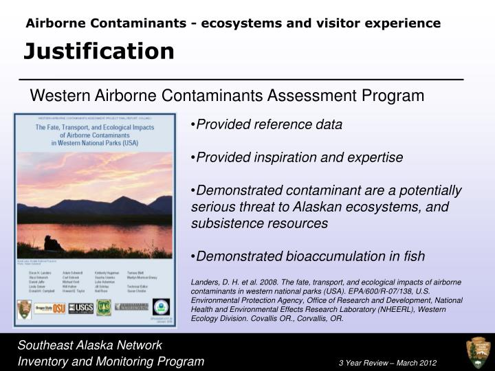 Airborne Contaminants - ecosystems and visitor experience