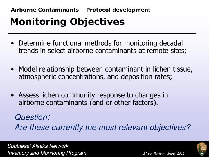 Airborne Contaminants – Protocol development