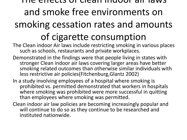 The effects of clean indoor air laws and smoke free environments on smoking cessation rates and amou...