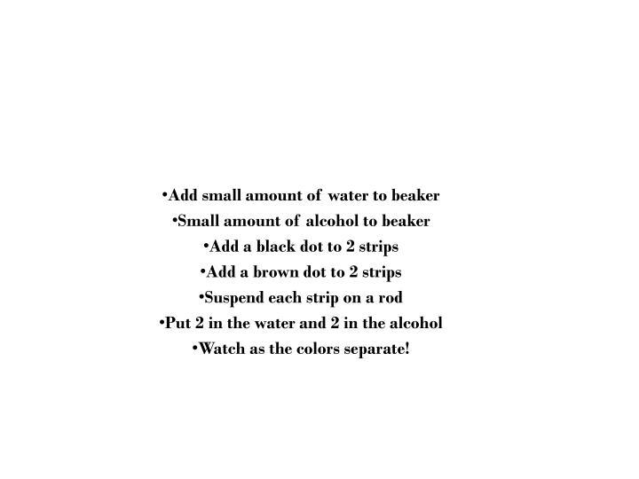 Add small amount of water to beaker