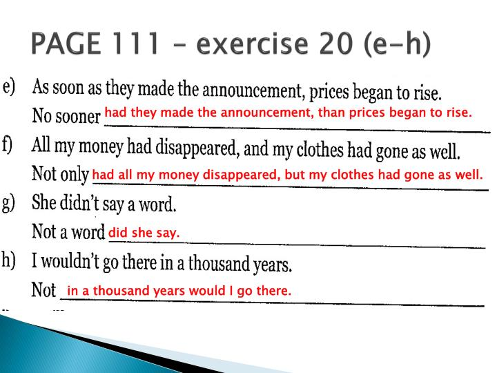 PAGE 111 – exercise 20 (e-h)