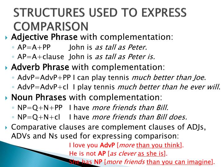 STRUCTURES USED TO EXPRESS COMPARISON