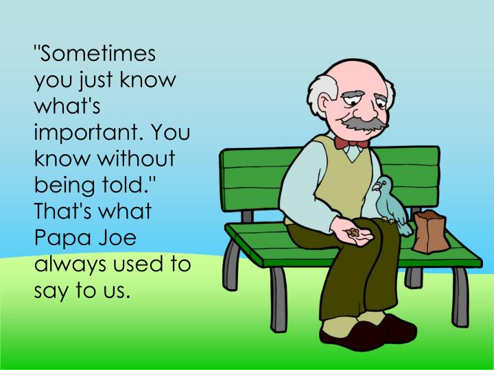 """Sometimes you just know what's important. You know without being told."" That's what Papa Joe always used to say to us."