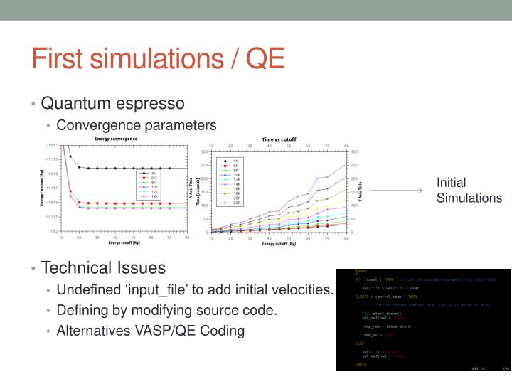 First simulations qe