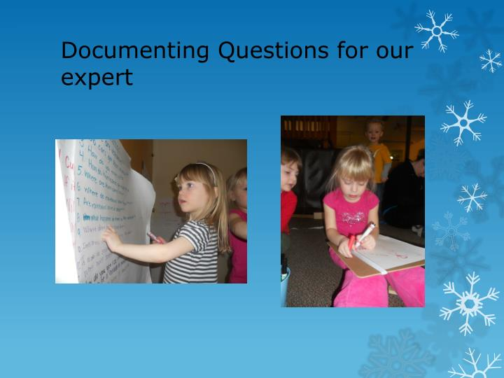 Documenting Questions for our expert