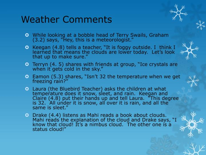 Weather Comments