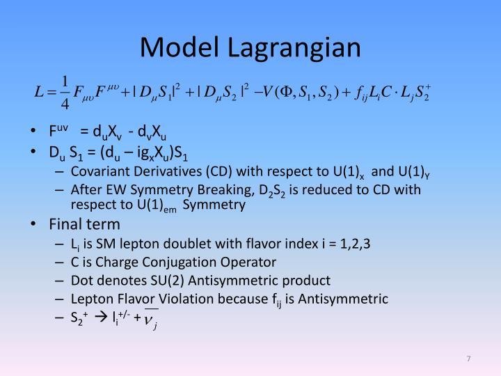Model Lagrangian