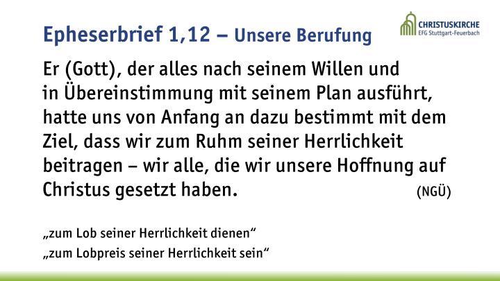 Epheserbrief 1,12 –