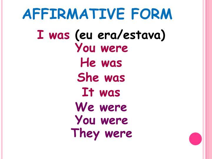 AFFIRMATIVE FORM