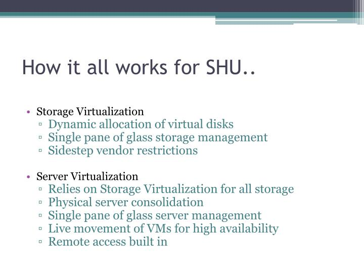 How it all works for SHU..
