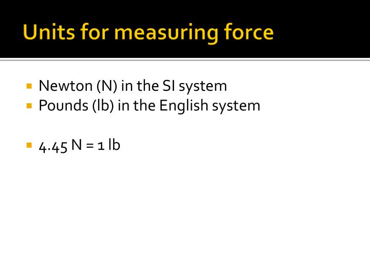 Units for measuring force