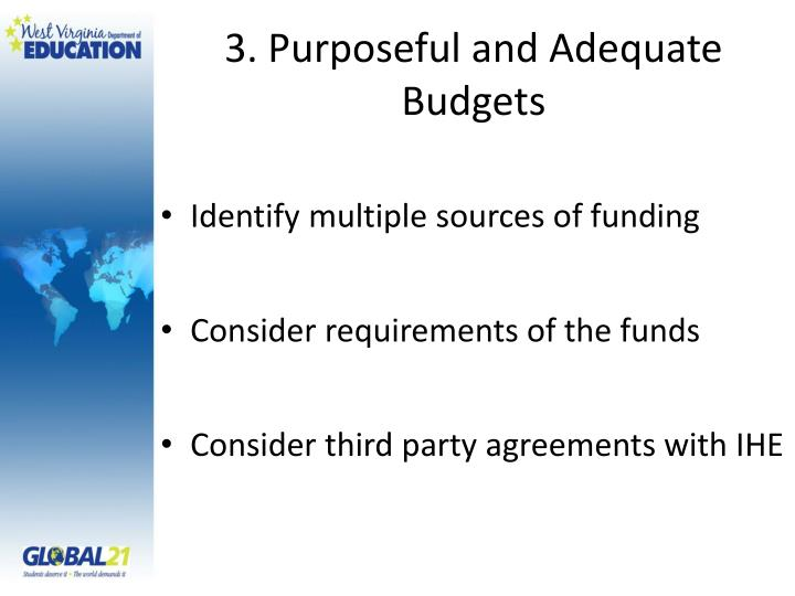 3. Purposeful and Adequate Budgets
