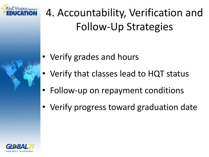 4. Accountability, Verification and Follow-Up Strategies