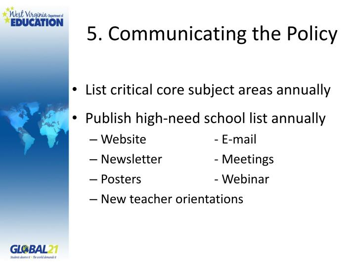 5. Communicating the Policy