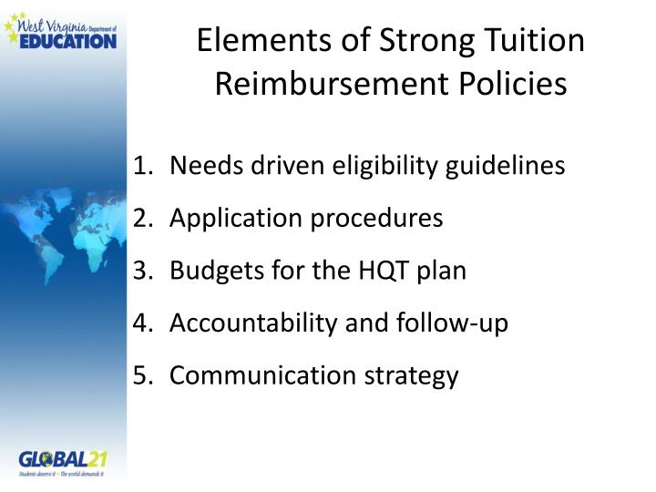 Elements of Strong Tuition Reimbursement Policies