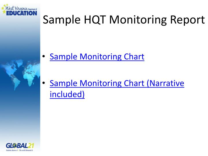 Sample HQT Monitoring Report