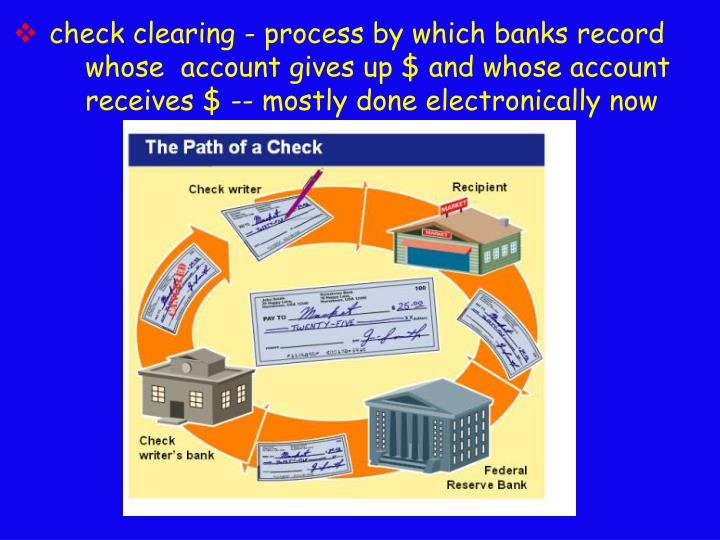 check clearing - process by which banks record  	whose  account gives up $ and whose account 	receives $ -- mostly done electronically now