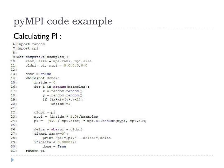 pyMPI code example