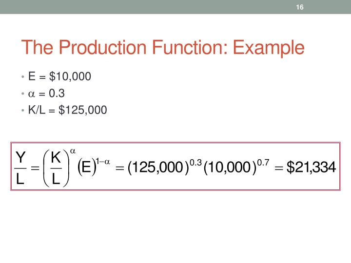 The Production Function: Example