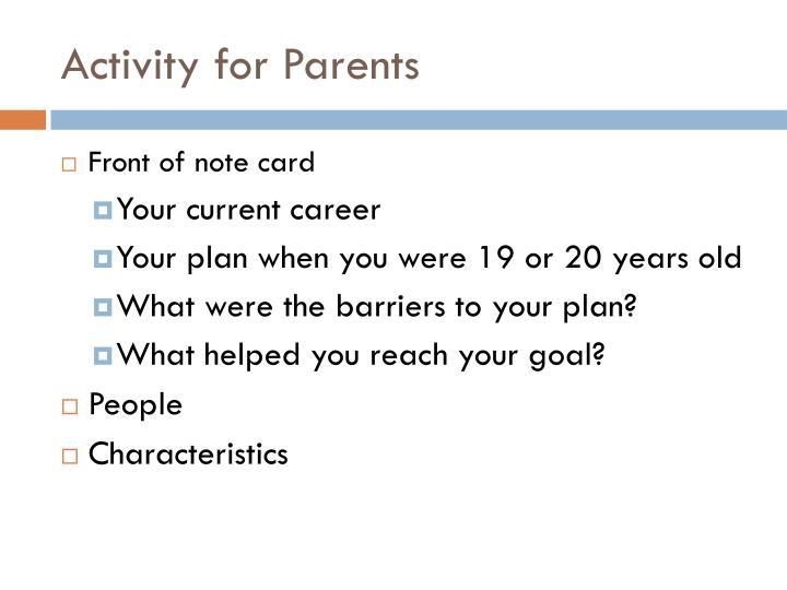 Activity for Parents