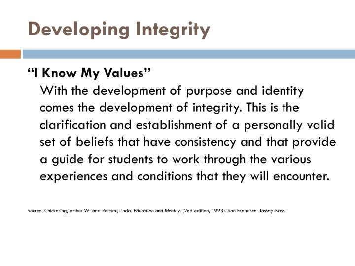 Developing Integrity