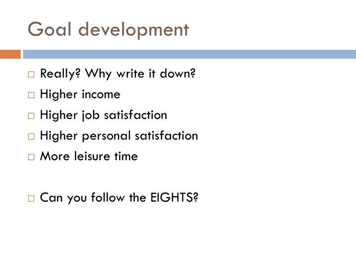 Goal development