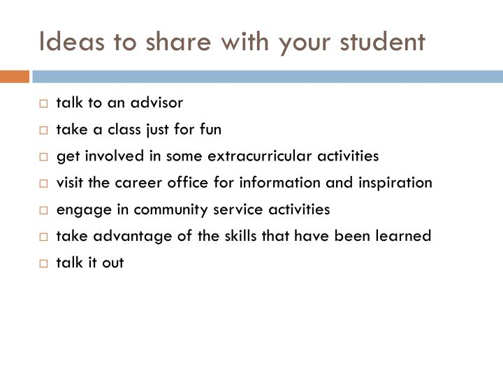 Ideas to share with your student
