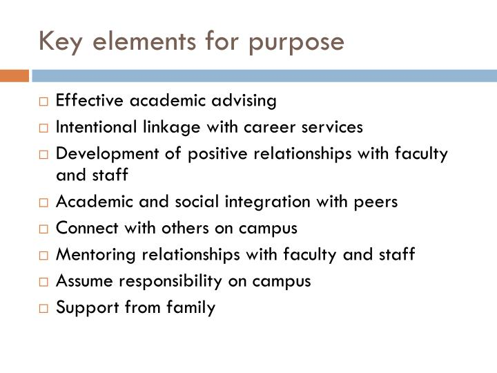 Key elements for purpose