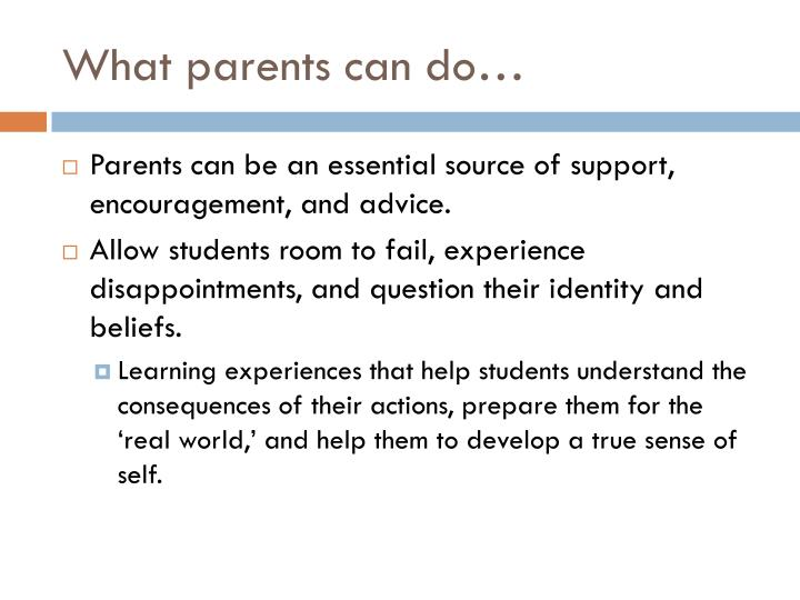 What parents can do…