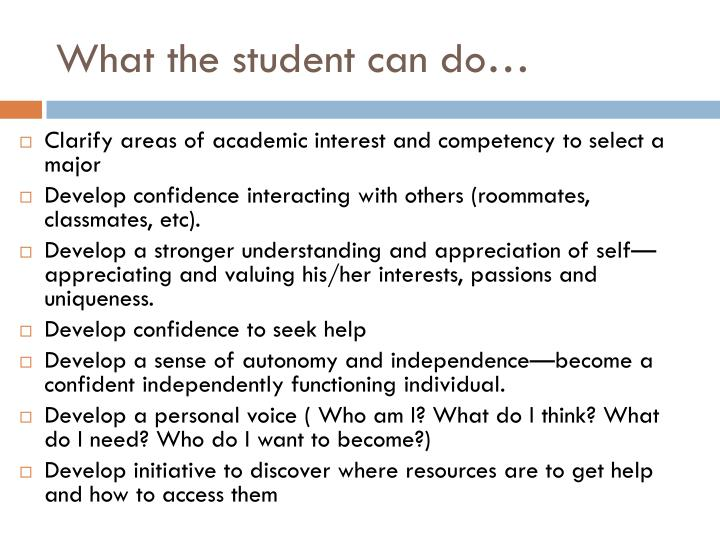 What the student can do…