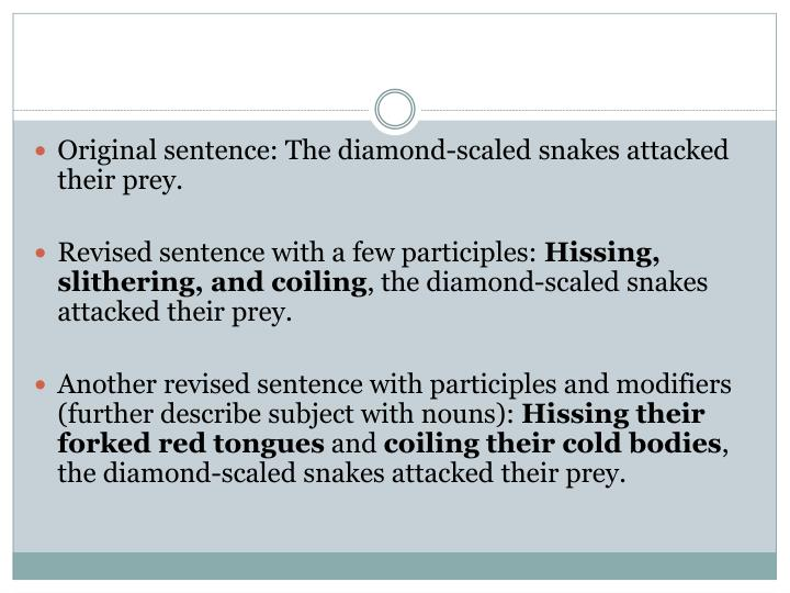 Original sentence: The diamond-scaled snakes attacked their prey.