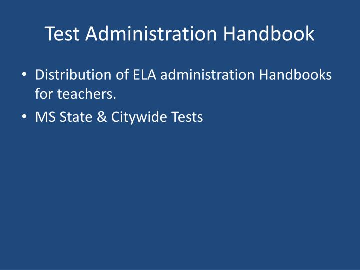 Test Administration Handbook