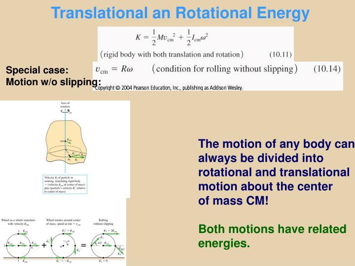 Translational an Rotational Energy
