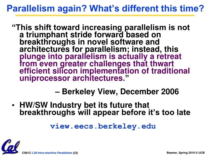 Parallelism again? What's different this time?