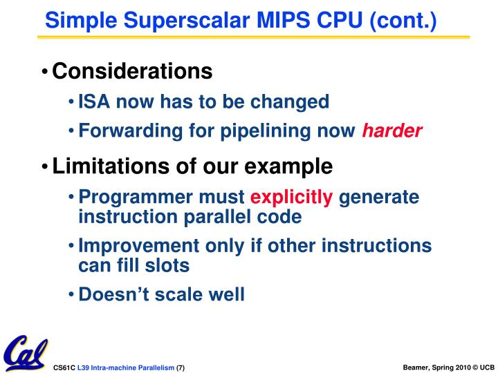 Simple Superscalar MIPS CPU (cont.)