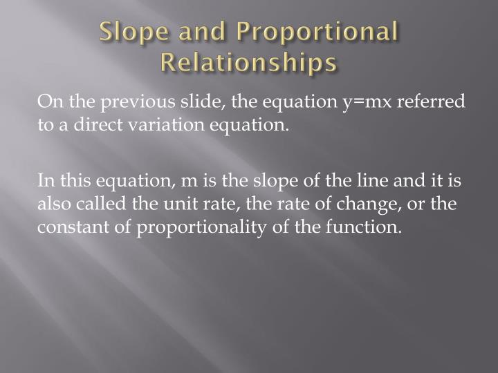 Slope and proportional relationships