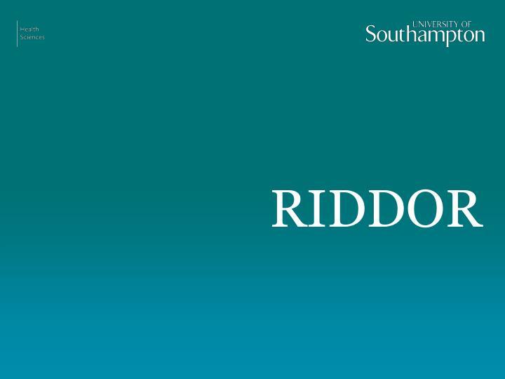 RIDDOR