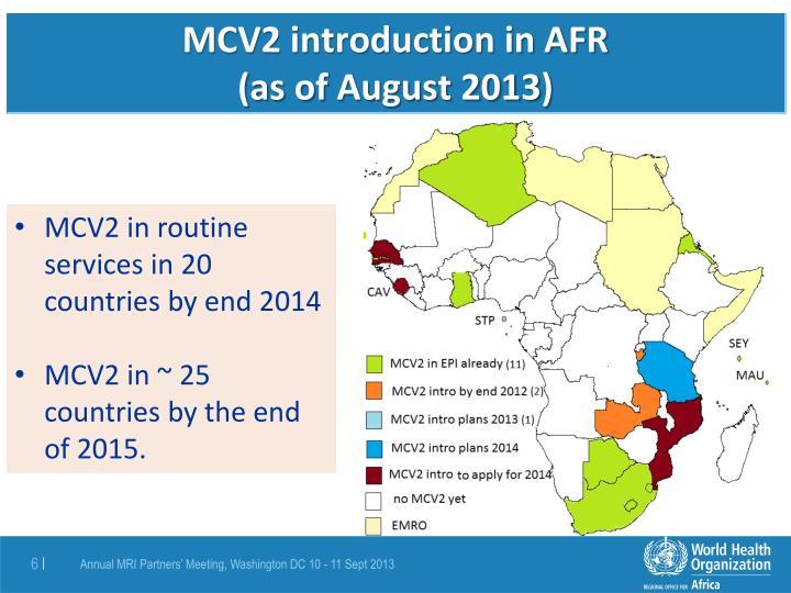 MCV2 introduction in AFR