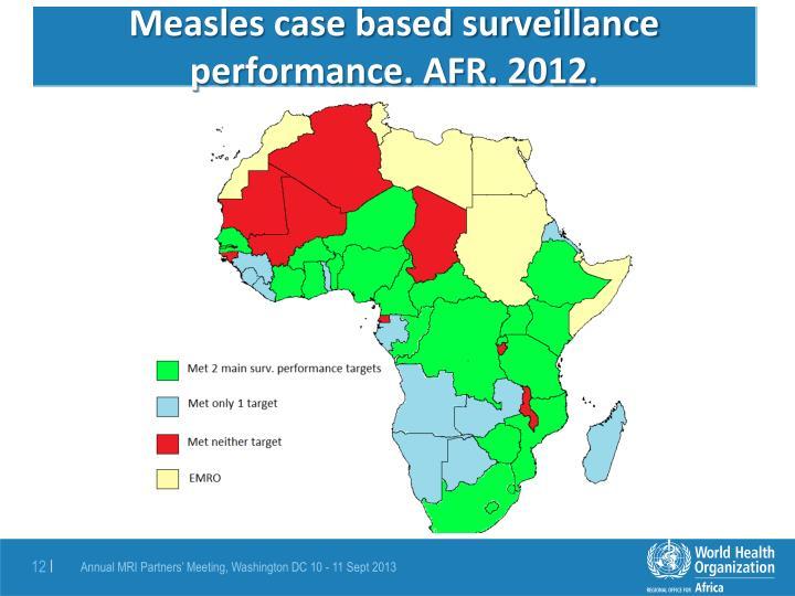 Measles case based surveillance performance. AFR. 2012.