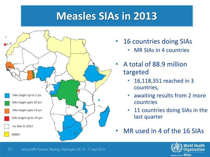 Measles SIAs in 2013