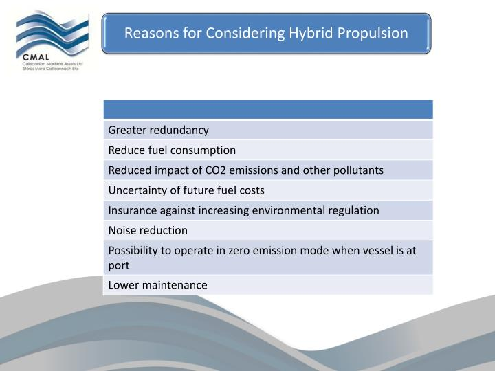 Reasons for Considering Hybrid Propulsion
