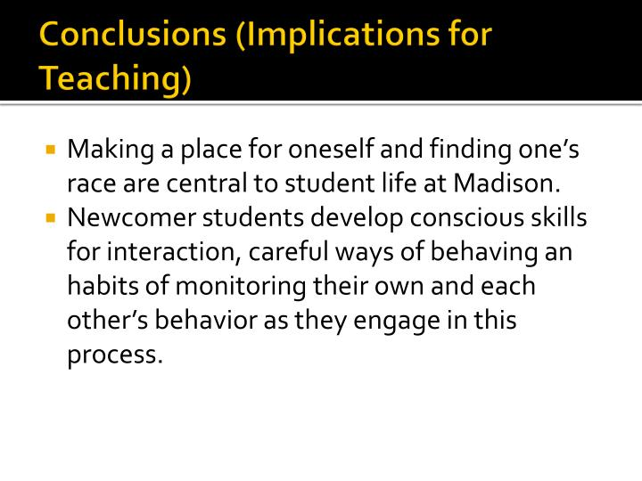 Conclusions (Implications for Teaching)
