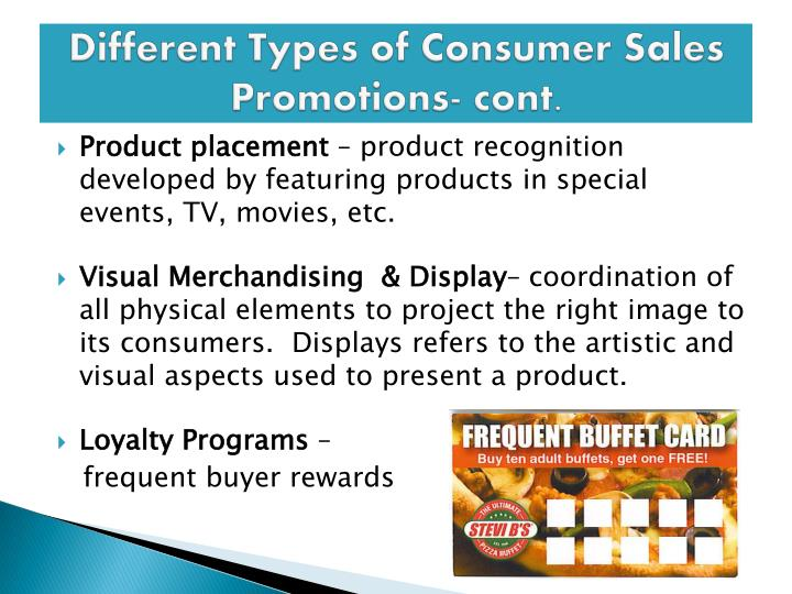 Different Types of Consumer Sales Promotions- cont.