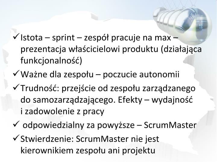 Istota  sprint  zesp pracuje na max  prezentacja wacicielowi produktu (dziaajca funkcjonalno)