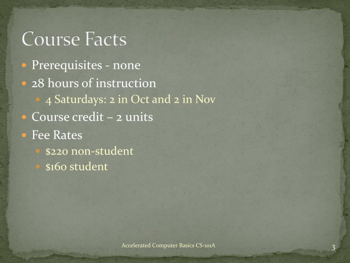 Course Facts