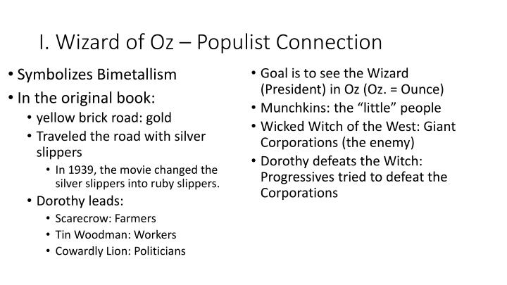I. Wizard of Oz – Populist Connection
